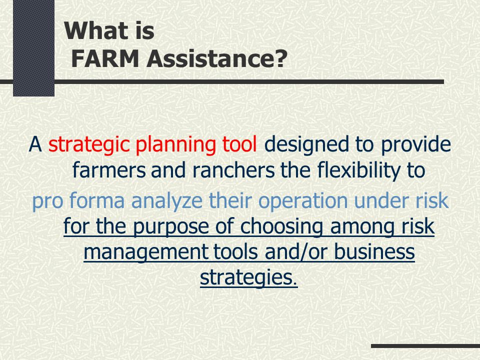 What is FARM Assistance? A strategic planning tool designed to provide farmers and ranchers the flexibility to pro forma analyze their operation under