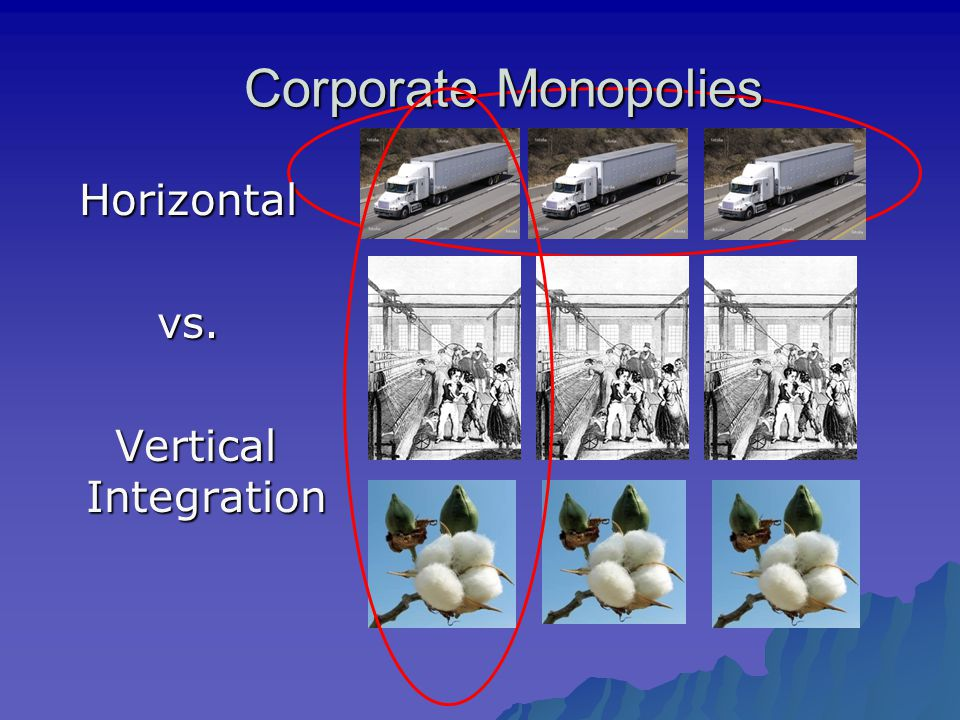 Corporate Monopolies Horizontal vs. Vertical Integration Vertical Integration
