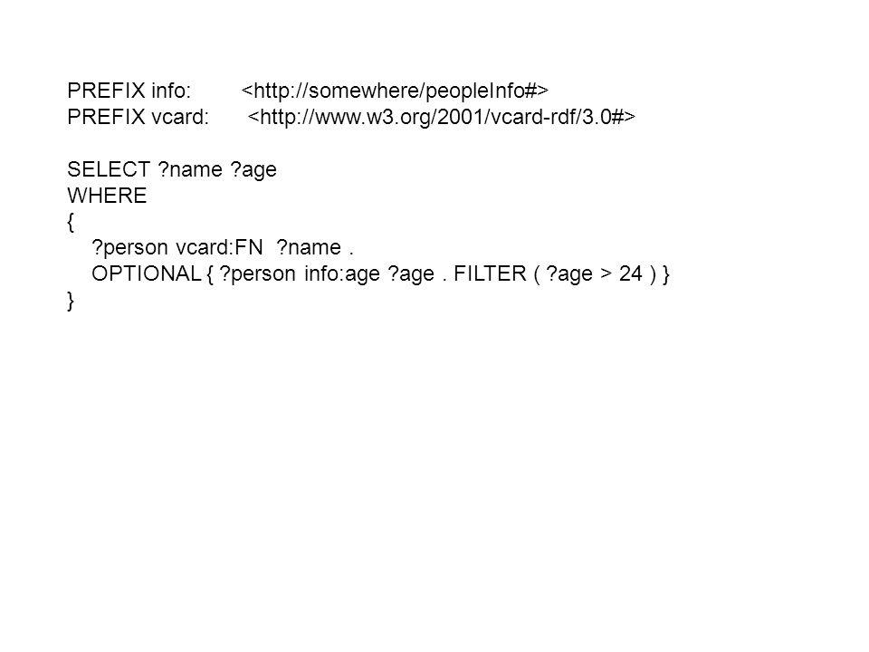 PREFIX info: PREFIX vcard: SELECT ?name ?age WHERE { ?person vcard:FN ?name. OPTIONAL { ?person info:age ?age. FILTER ( ?age > 24 ) } }