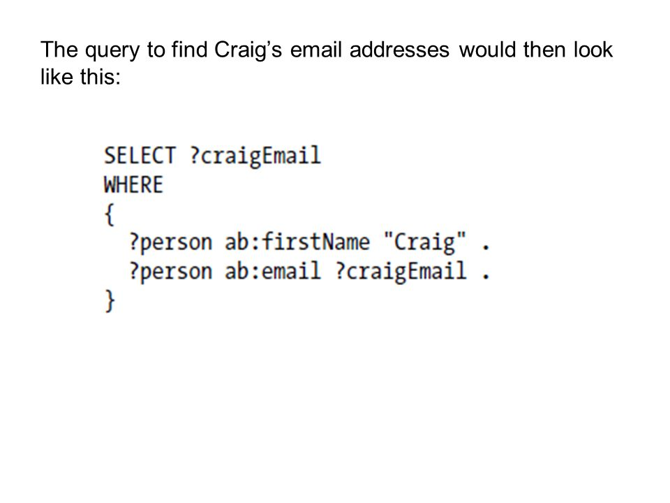 The query to find Craig's email addresses would then look like this: