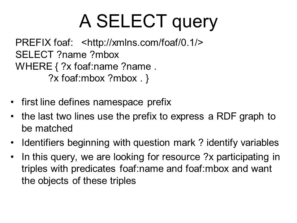 A SELECT query first line defines namespace prefix the last two lines use the prefix to express a RDF graph to be matched Identifiers beginning with q