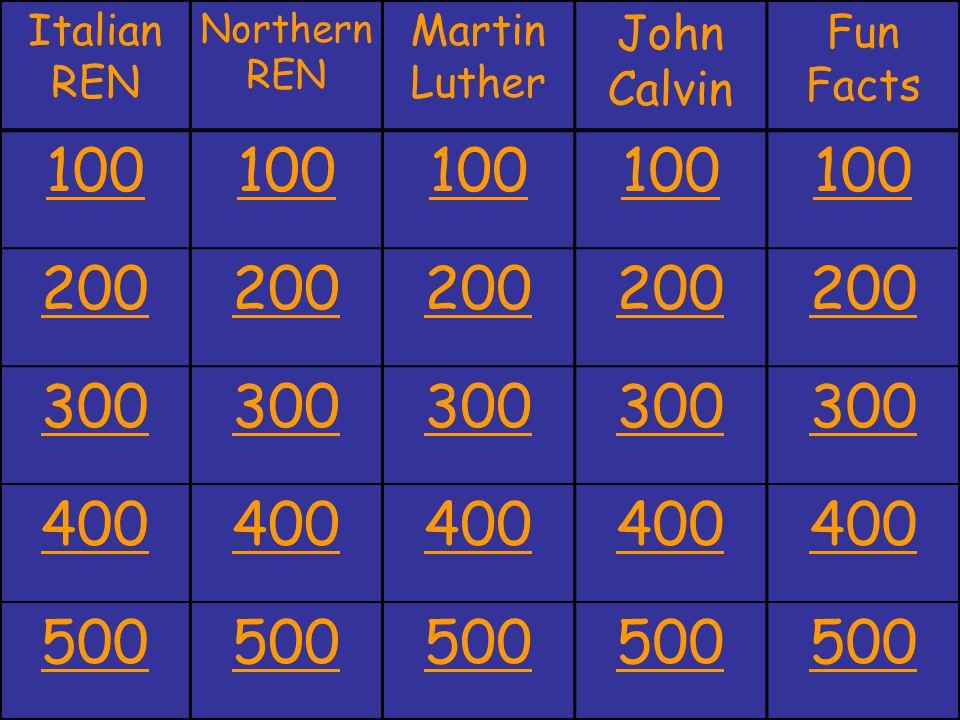 Italian REN Northern REN Martin Luther John Calvin Fun Facts 100 200 300 400 500