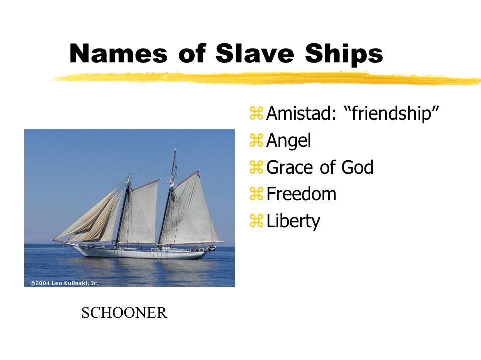 "Names of Slave Ships z Amistad: ""friendship"" z Angel z Grace of God z Freedom z Liberty SCHOONER"