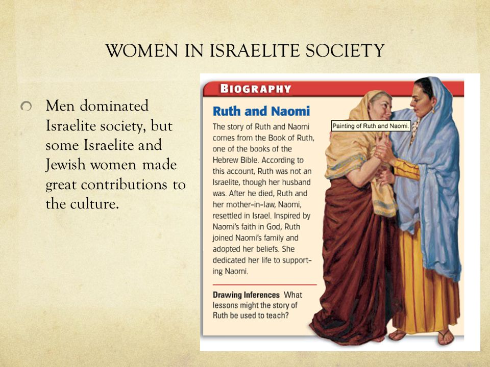 WOMEN IN ISRAELITE SOCIETY Men dominated Israelite society, but some Israelite and Jewish women made great contributions to the culture.