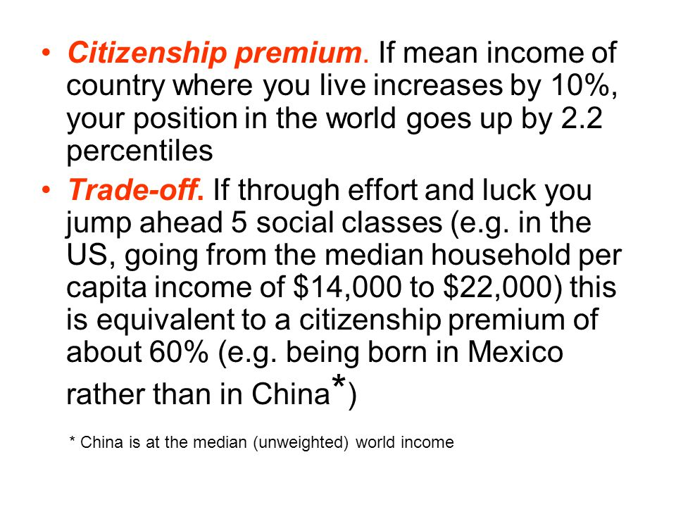Citizenship premium. If mean income of country where you live increases by 10%, your position in the world goes up by 2.2 percentiles Trade-off. If th