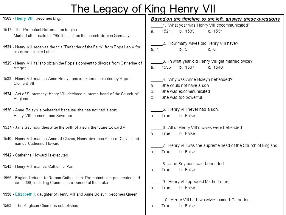 The Legacy of King Henry VII 1509 - Henry VIII, becomes king.Henry VIII 1517 - The Protestant Reformation begins Martin Luther nails his