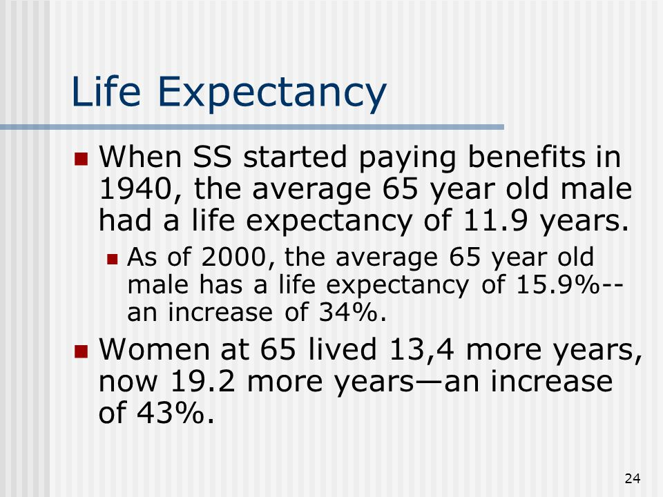 24 Life Expectancy When SS started paying benefits in 1940, the average 65 year old male had a life expectancy of 11.9 years.