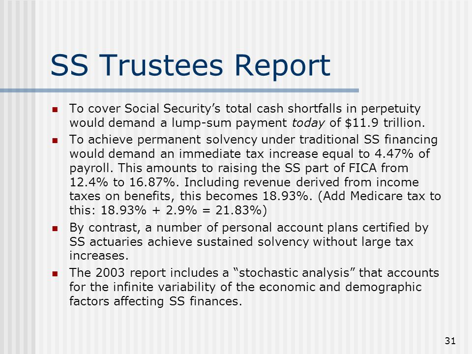 31 SS Trustees Report To cover Social Security's total cash shortfalls in perpetuity would demand a lump-sum payment today of $11.9 trillion.