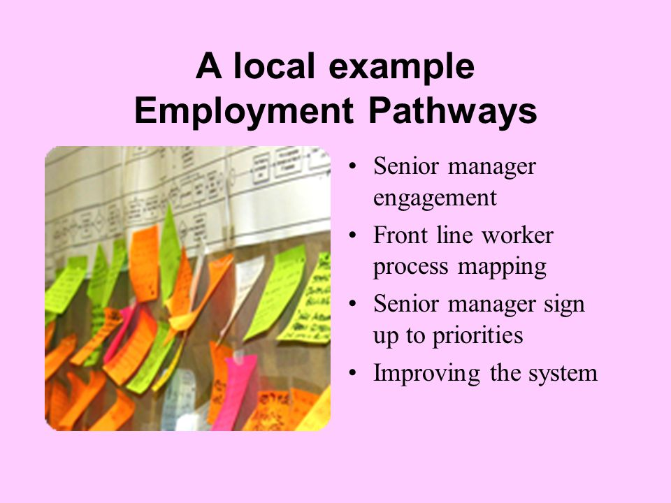 A local example Employment Pathways Senior manager engagement Front line worker process mapping Senior manager sign up to priorities Improving the system