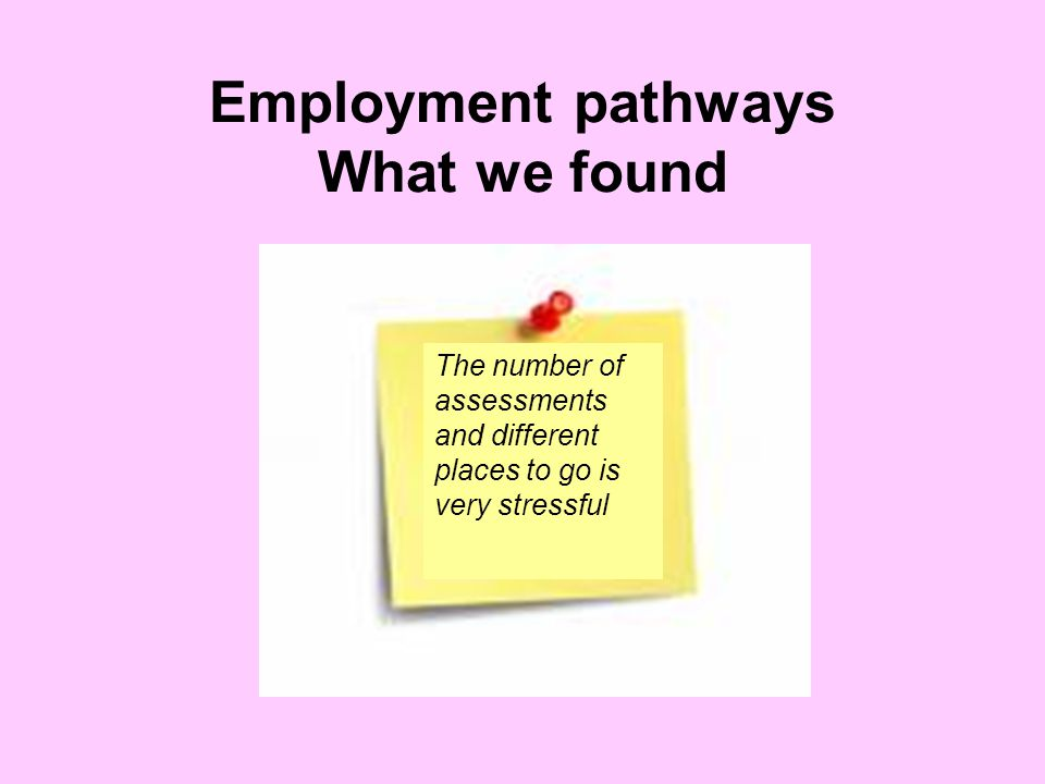 Employment pathways What we found The number of assessments and different places to go is very stressful