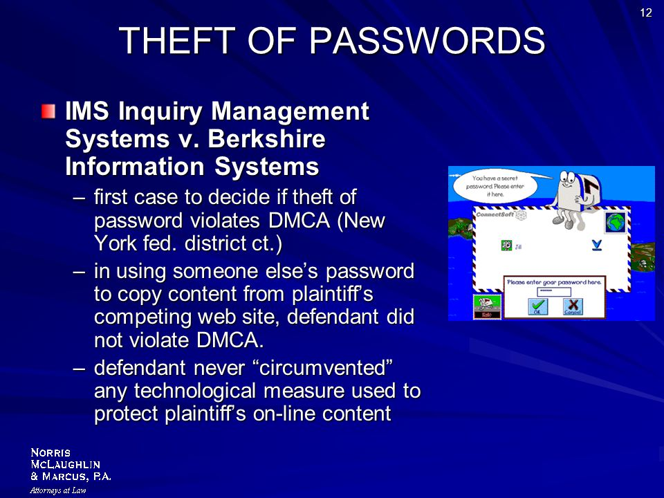 12 THEFT OF PASSWORDS IMS Inquiry Management Systems v.