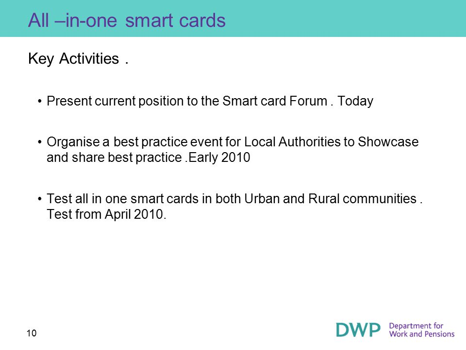 10 All –in-one smart cards Key Activities. Present current position to the Smart card Forum.