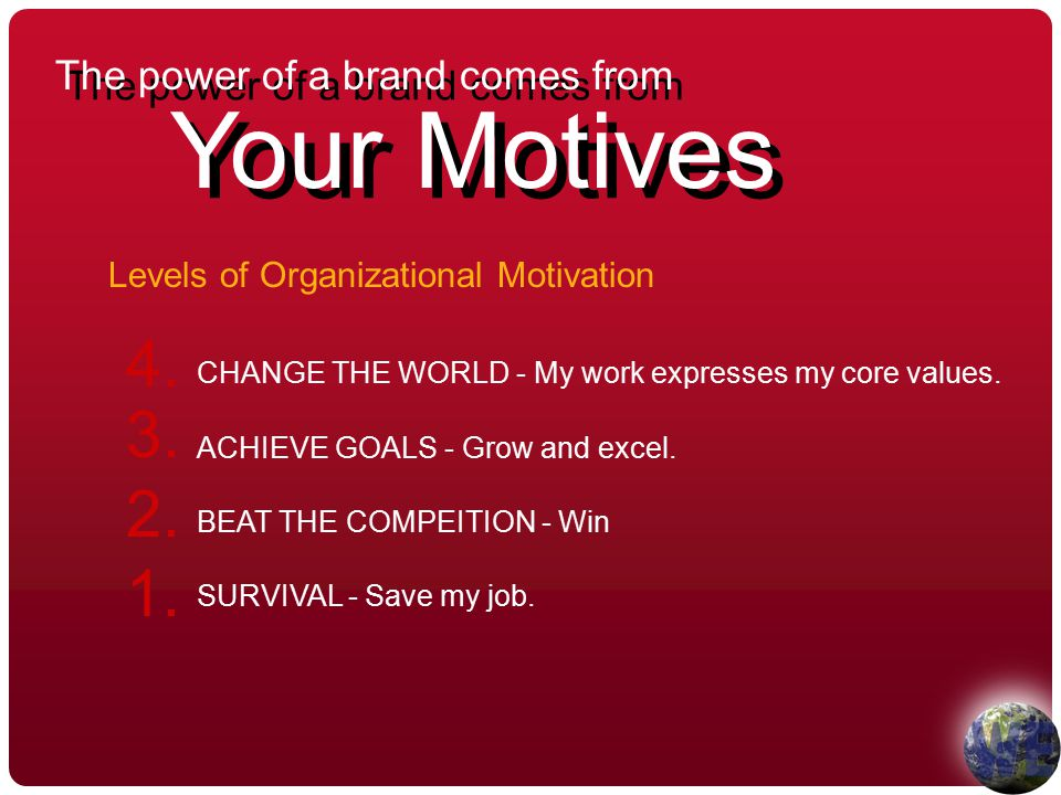 The power of a brand comes from Your Motives CHANGE THE WORLD - My work expresses my core values.