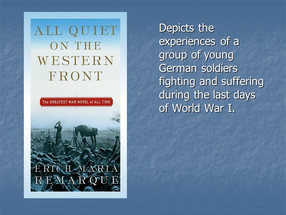 Depicts the experiences of a group of young German soldiers fighting and suffering during the last days of World War I.