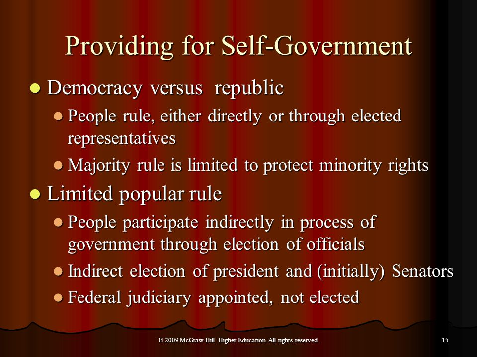 Providing for Self-Government Democracy versus republic Democracy versus republic People rule, either directly or through elected representatives People rule, either directly or through elected representatives Majority rule is limited to protect minority rights Majority rule is limited to protect minority rights Limited popular rule Limited popular rule People participate indirectly in process of government through election of officials People participate indirectly in process of government through election of officials Indirect election of president and (initially) Senators Indirect election of president and (initially) Senators Federal judiciary appointed, not elected Federal judiciary appointed, not elected © 2009 McGraw-Hill Higher Education.