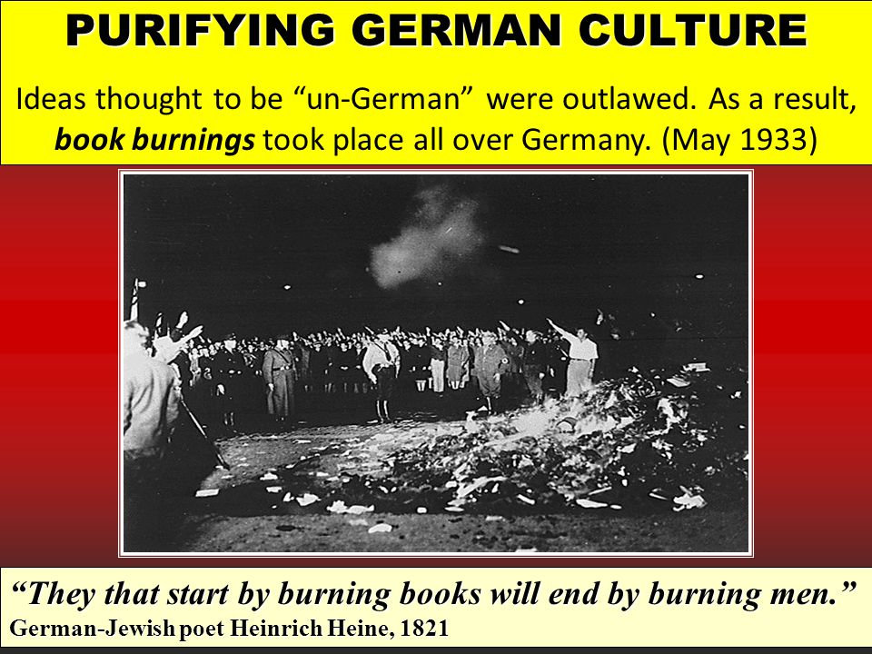PURIFYING GERMAN CULTURE Ideas thought to be un-German were outlawed.