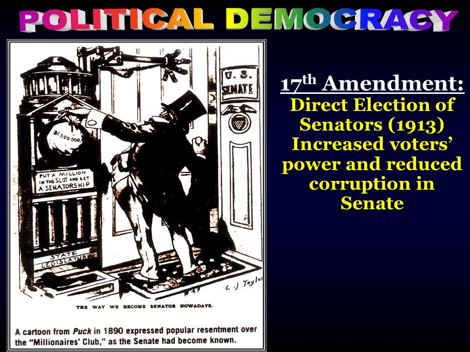 17 th Amendment: Direct Election of Senators (1913) Increased voters' power and reduced corruption in Senate