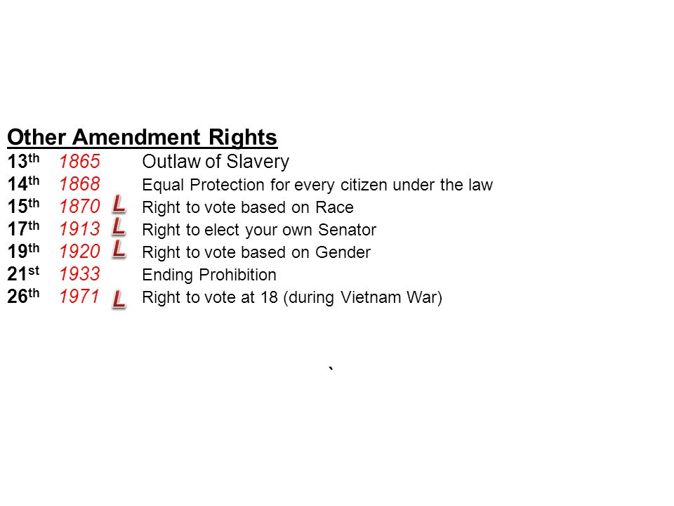 Notes: The U.S. Constitution #10 Other Amendment Rights 13 th Outlaw of Slavery 14 th Equal Protection for every citizen under the law 15 th Right to