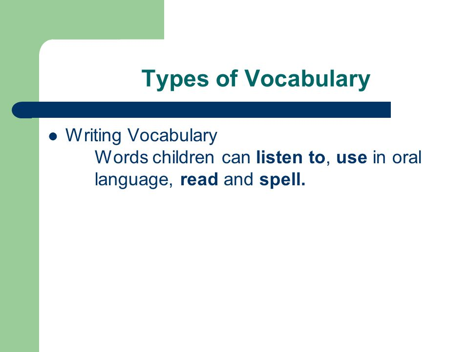 Types of Vocabulary Writing Vocabulary Words children can listen to, use in oral language, read and spell.