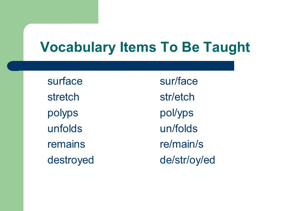 Vocabulary Items To Be Taught surface sur/face stretch str/etch polypspol/yps unfoldsun/folds remainsre/main/s destroyedde/str/oy/ed