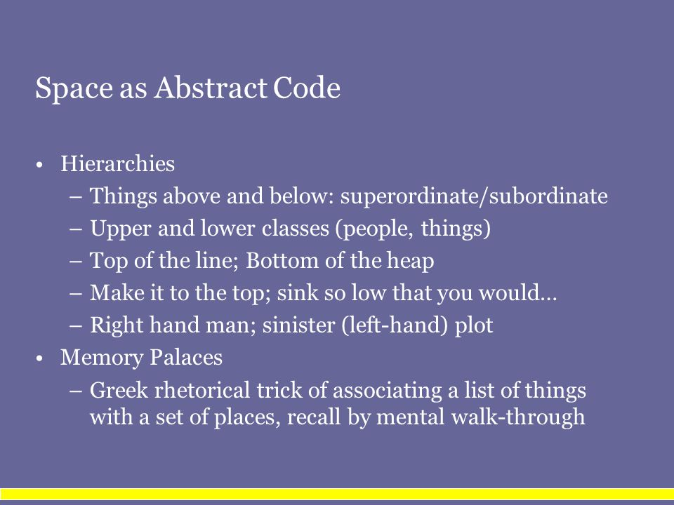 Space as Abstract Code Hierarchies –Things above and below: superordinate/subordinate –Upper and lower classes (people, things) –Top of the line; Bott