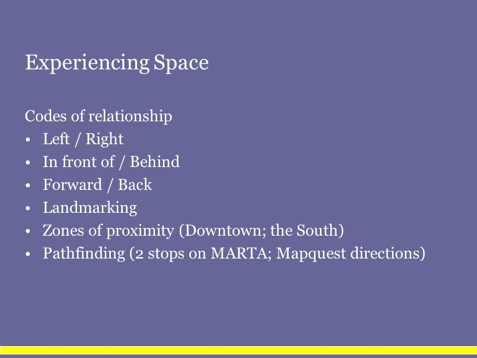 Experiencing Space Codes of relationship Left / Right In front of / Behind Forward / Back Landmarking Zones of proximity (Downtown; the South) Pathfinding (2 stops on MARTA; Mapquest directions)