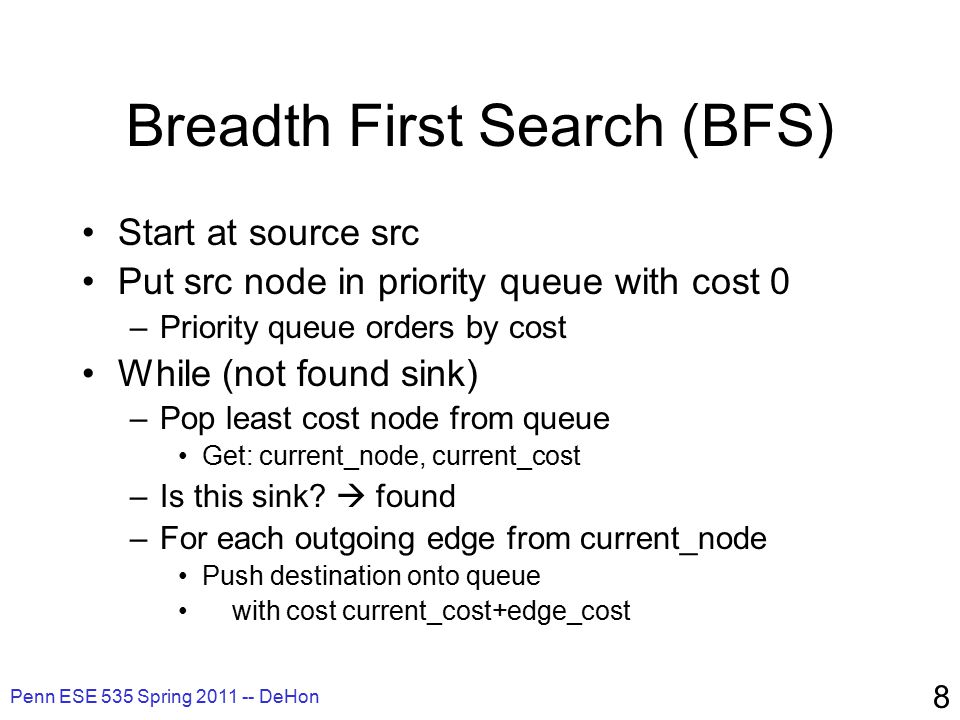 Penn ESE 535 Spring 2011 -- DeHon 59 Searching Use A* like search –Always expanded (deepen) along shortest …as long as can prove no other path will dominate –Uncongested: takes O(path-length) time –Worst-case reduces to breadth-first O(total-paths) O(N p ) for HSRA
