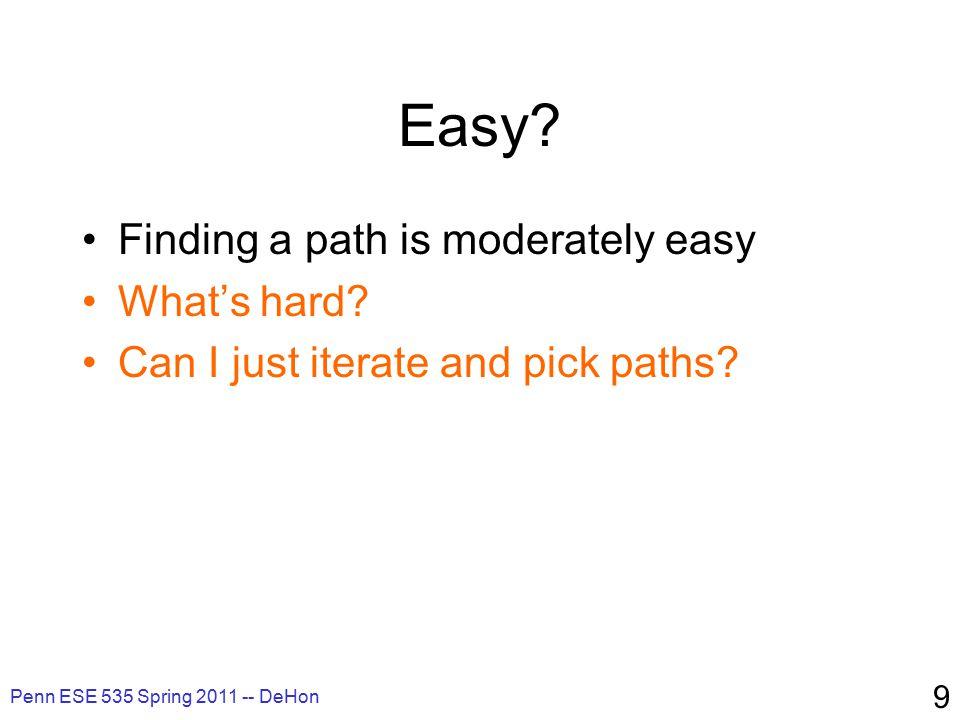 Penn ESE 535 Spring 2011 -- DeHon 70 Big Ideas Exploit freedom Technique: –Graph algorithms (BFS, DFS) –Search techniques: A* –Iterative improvement/relaxation –Adaptive cost refinement