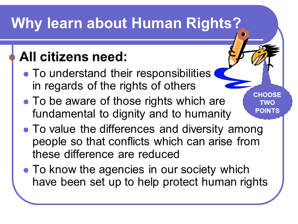 Why learn about Human Rights.