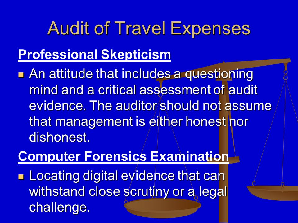 Audit of Travel Expenses Professional Skepticism An attitude that includes a questioning mind and a critical assessment of audit evidence.