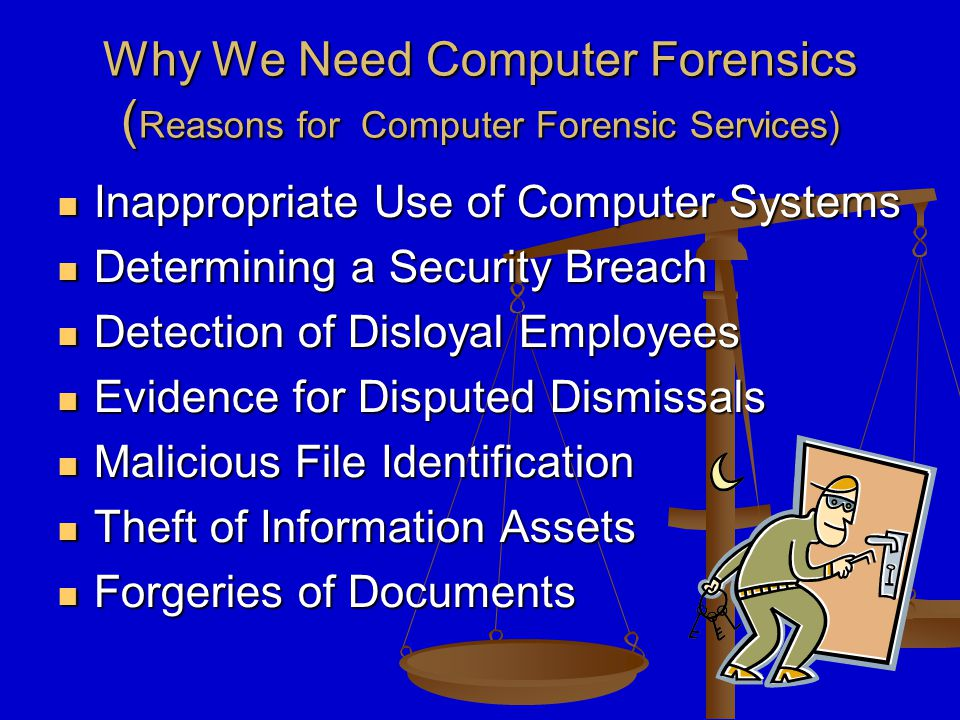 Why We Need Computer Forensics ( Reasons for Computer Forensic Services) Inappropriate Use of Computer Systems Inappropriate Use of Computer Systems Determining a Security Breach Determining a Security Breach Detection of Disloyal Employees Detection of Disloyal Employees Evidence for Disputed Dismissals Evidence for Disputed Dismissals Malicious File Identification Malicious File Identification Theft of Information Assets Theft of Information Assets Forgeries of Documents Forgeries of Documents
