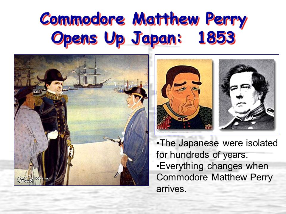Treaty of Kanagawa: 1854 Perry's modern fleet and weapons intimidate Japan.