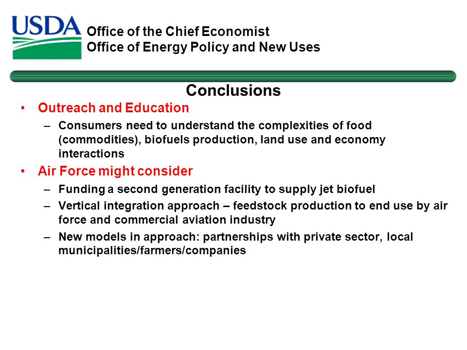 Office of the Chief Economist Office of Energy Policy and New Uses Conclusions Outreach and Education –Consumers need to understand the complexities o