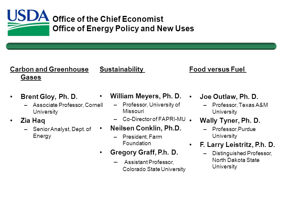 Office of the Chief Economist Office of Energy Policy and New Uses Carbon and Greenhouse Gases Brent Gloy, Ph.