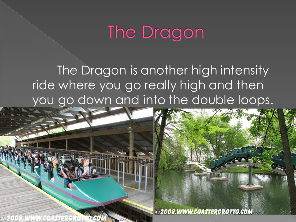 The Dragon is another high intensity ride where you go really high and then you go down and into the double loops.