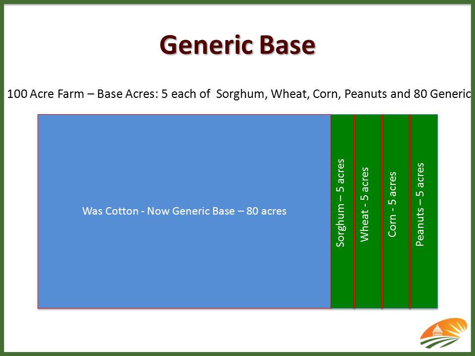 Was Cotton - Now Generic Base – 80 acres Sorghum – 5 acres Wheat - 5 acres Corn - 5 acres Peanuts – 5 acres 100 Acre Farm – Base Acres: 5 each of Sorghum, Wheat, Corn, Peanuts and 80 Generic Generic Base