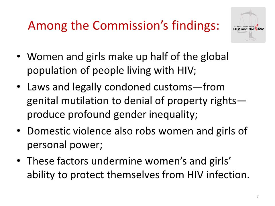Among the Commission's findings: Women and girls make up half of the global population of people living with HIV; Laws and legally condoned customs—fr