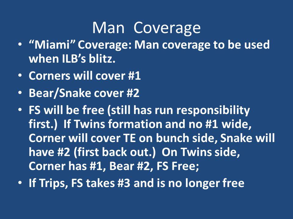 "Man Coverage ""Miami"" Coverage: Man coverage to be used when ILB's blitz. Corners will cover #1 Bear/Snake cover #2 FS will be free (still has run resp"