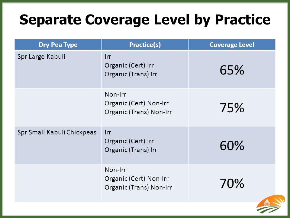 Dry Pea TypePractice(s)Coverage Level Spr Large KabuliIrr Organic (Cert) Irr Organic (Trans) Irr 65% Non-Irr Organic (Cert) Non-Irr Organic (Trans) Non-Irr 75% Spr Small Kabuli ChickpeasIrr Organic (Cert) Irr Organic (Trans) Irr 60% Non-Irr Organic (Cert) Non-Irr Organic (Trans) Non-Irr 70%