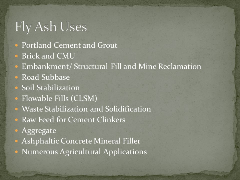 Portland Cement and Grout Brick and CMU Embankment/ Structural Fill and Mine Reclamation Road Subbase Soil Stabilization Flowable Fills (CLSM) Waste S