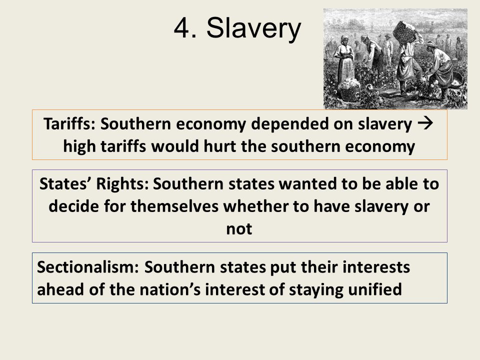 Slavery - main cause of the Civil War The South viewed slavery as a necessity to maintain their economy. Texans & South believed slavery was vital to