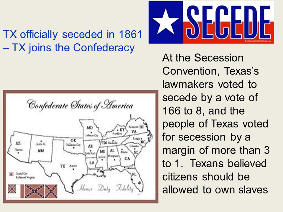 Secession Convention Secede: Withdraw or break away from the Union Confederacy: 11 states Union: 20 states
