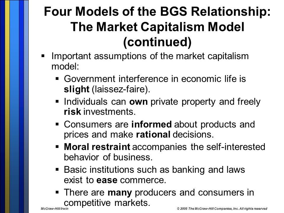 Four Models of the BGS Relationship: The Market Capitalism Model (continued)  Important assumptions of the market capitalism model:  Government interference in economic life is slight (laissez-faire).