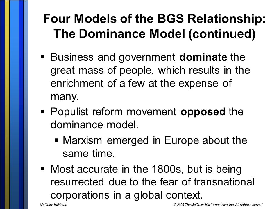 Four Models of the BGS Relationship: The Dominance Model (continued)  Business and government dominate the great mass of people, which results in the enrichment of a few at the expense of many.