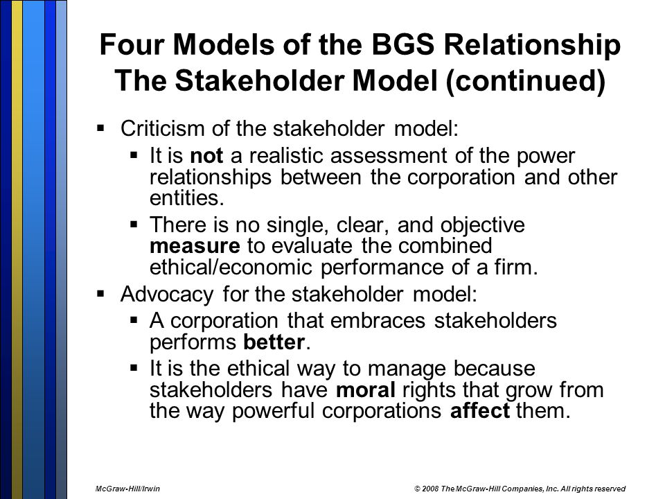 Four Models of the BGS Relationship The Stakeholder Model (continued)  Criticism of the stakeholder model:  It is not a realistic assessment of the power relationships between the corporation and other entities.