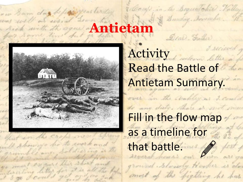 Antietam Activity R ead the Battle of Antietam Summary. Fill in the flow map as a timeline for that battle.