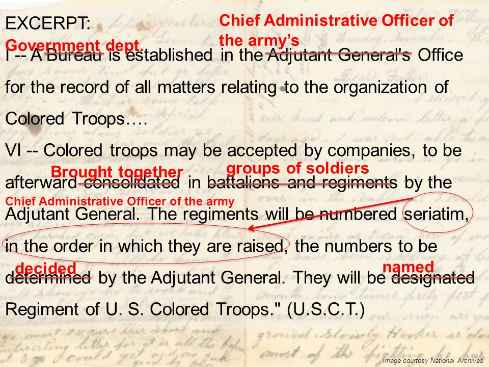 EXCERPT: I -- A Bureau is established in the Adjutant General's Office for the record of all matters relating to the organization of Colored Troops….