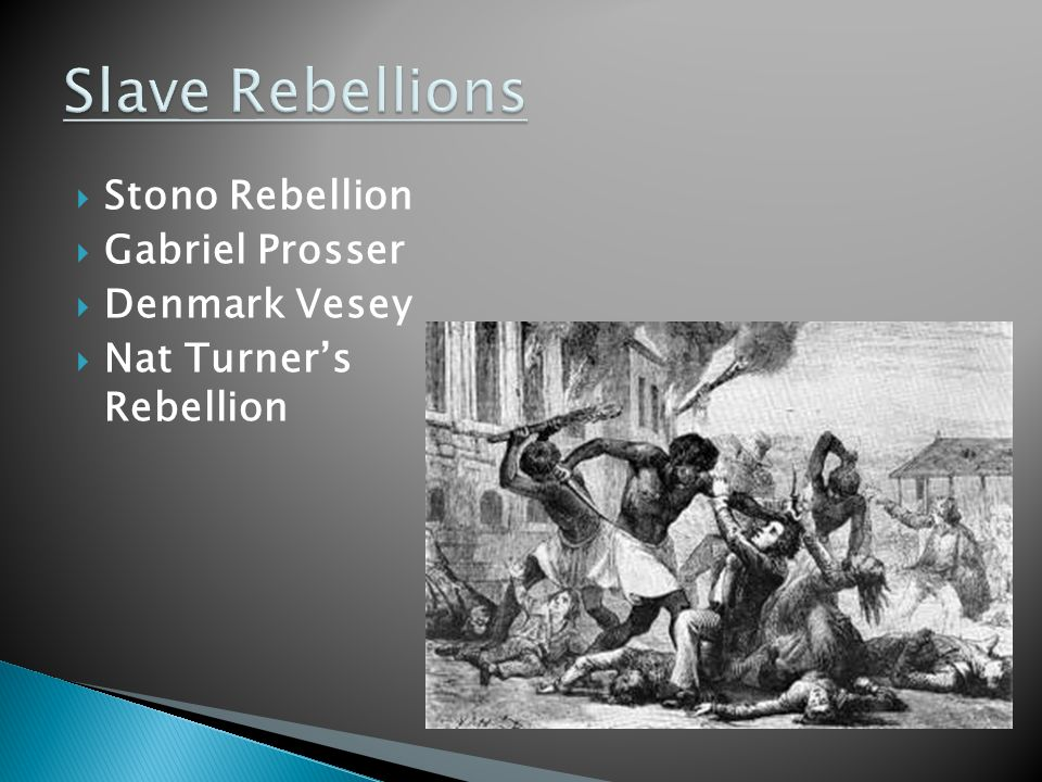  Stono Rebellion  Gabriel Prosser  Denmark Vesey  Nat Turner's Rebellion