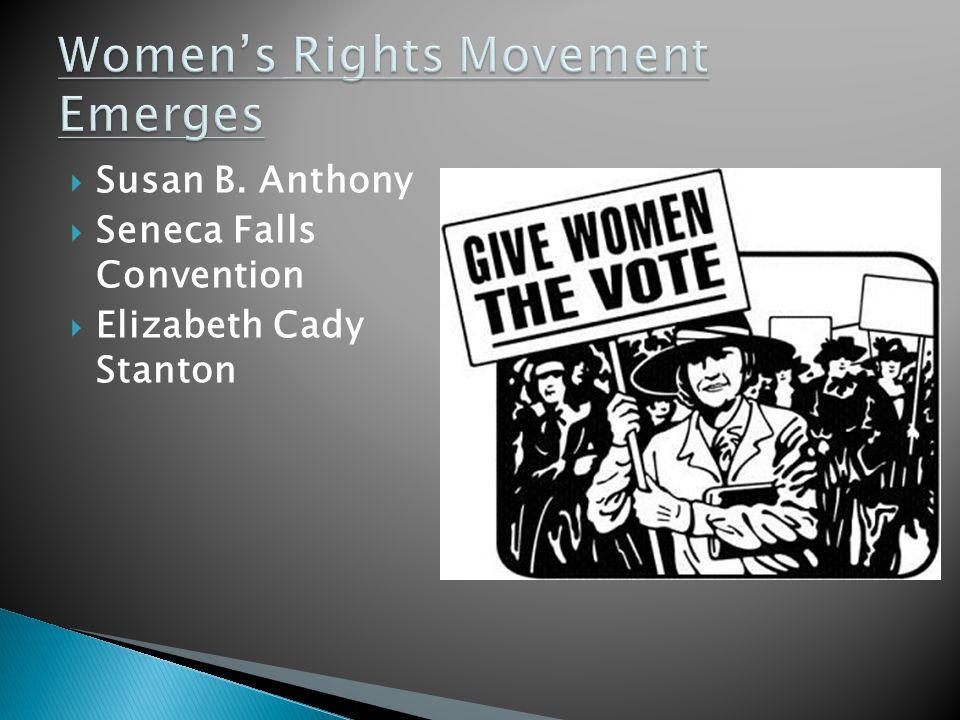  Susan B. Anthony  Seneca Falls Convention  Elizabeth Cady Stanton