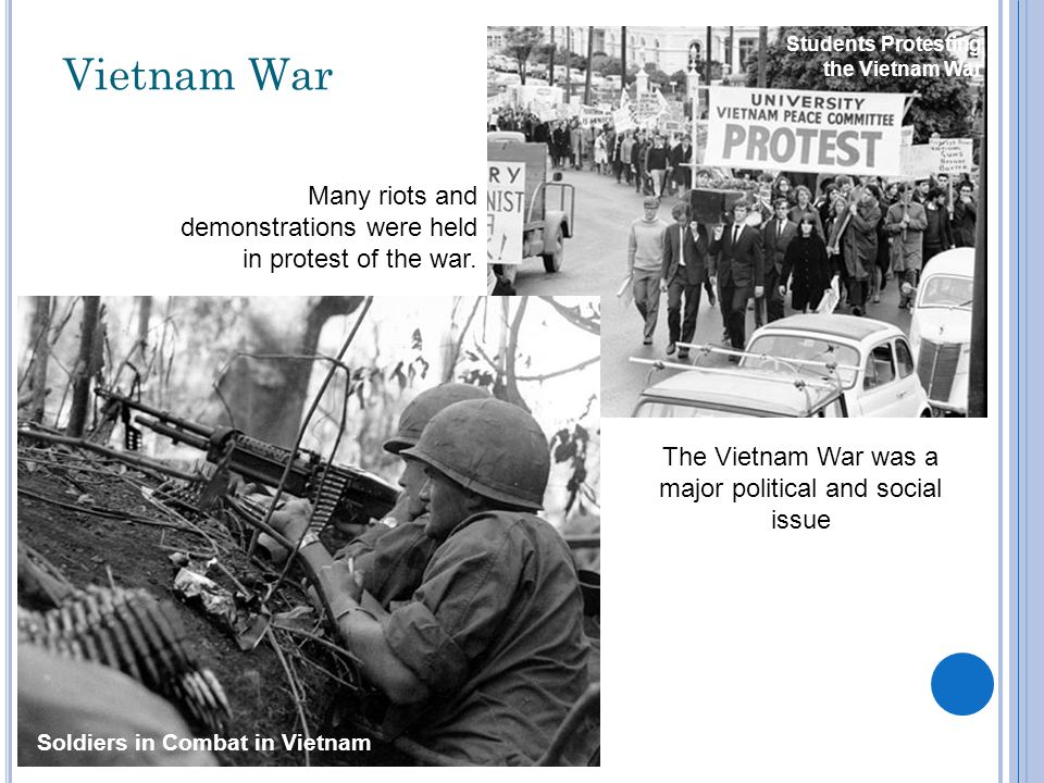 Vietnam War The Vietnam War was a major political and social issue Students Protesting the Vietnam War Soldiers in Combat in Vietnam Many riots and demonstrations were held in protest of the war.